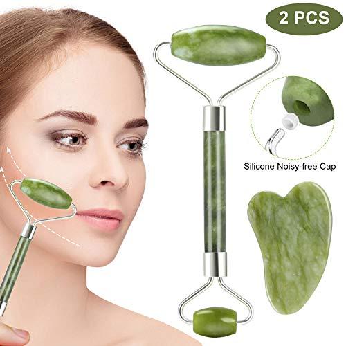 Aiemok Rodillo de Jade, Facial Masaje Piedra Gua Sha Jade, 100% Natural Jade Roller...