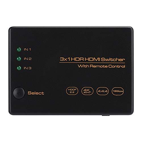 Conmutador HDMI 4K HDR, Cajas selectoras de Audio y Video HDMI 4K 3 en 1 60Hz, convertidor conmutador HDMI de 3 Puertos con Control Remoto para Xbox360/PS4/TV Stick/HDTV