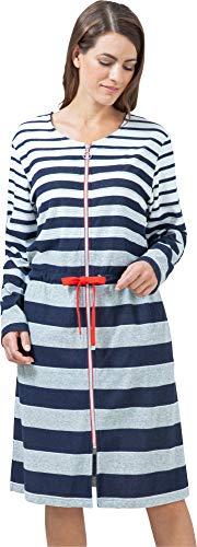 hajo Homewear women Damen-Bademantel Leichtfrottier Marine Größe 52/54