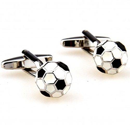 Wansan Gemelos de balón de fútbol, varios estilos, para hombres, personalidad, diseño redondo, acero inoxidable, gemelos para regalo de cumpleaños