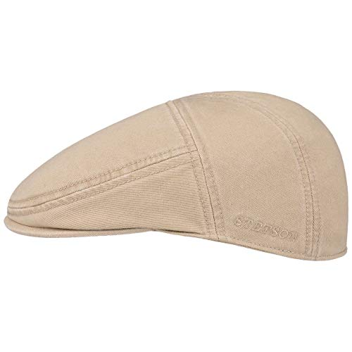 Stetson Paradise Cotton Schirmmütze beige Herren - Flatcap mit UV-Schutz 40+ - Herrenmütze aus Baumwolle - Flat Cap Größen L 58-59 cm - Schiebermütze Sommer/Winter