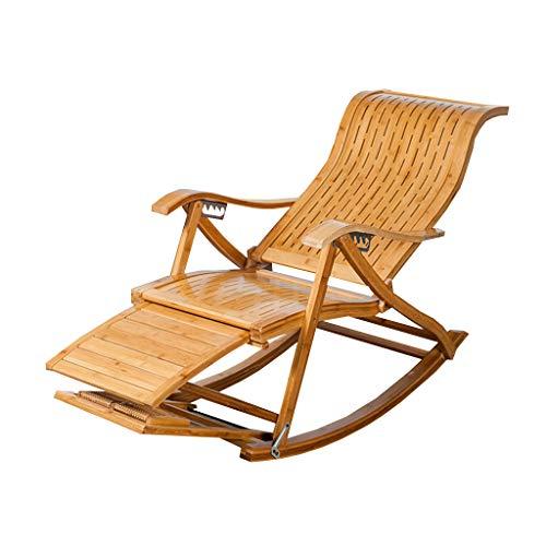 N / A Bamboo Rocking ChairSedia Pieghevole, Divano Pigro, Sedia a Dondolo in bambù, Poggiapiedi Allungato, Balcone per Il Tempo Libero Anziano Regolabile, Sedia a Sdraio da Giardino(Color:B)