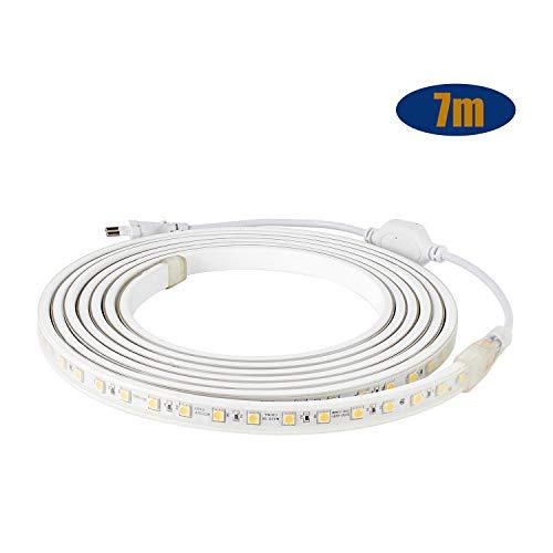 Kefflum LED Streifen LED Stripes LED Lichtband IP65 5050 LED Band 230V 60 LEDs/M 7M Warmweiß für von Haus, Küche, Garten [Energieklasse A+++]