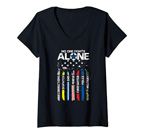 Womens First Responders American Thin Line Police Fire Military EMS V-Neck T-Shirt