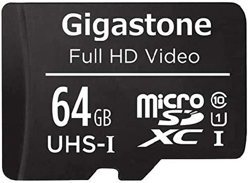 Gigastone Scheda di Memoria Micro SDXC da 64 GB con Adattatore SD, A1 U3 4K, Fino a 90 MB/s di Lettura, 30 MB/s di Scrittura per Fotocamere Videocamere Tavoletta Dashcam GoPro Canon Nikon DJI Drone