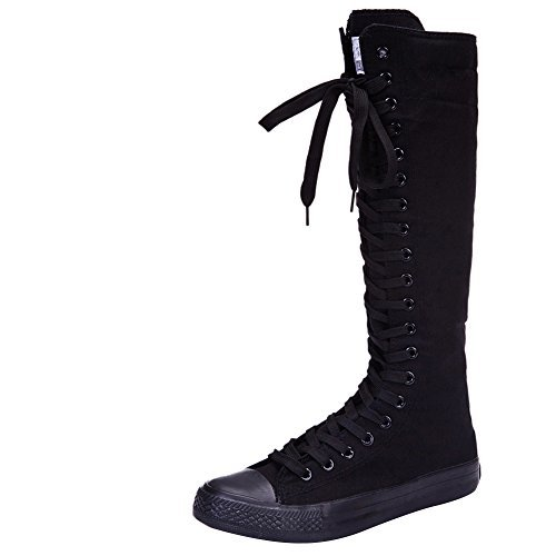 ANUFER Girls Women Fashion Knee High Lace-Up Canvas Boots Pure Black Zip Dance Boots SN811 US4.5
