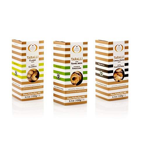 Taralli Mix, 3 confezioni di Taralli pugliesi misti, classici, al finocchietto selvatico e al gusto cacio e pepe, 150g cadauno