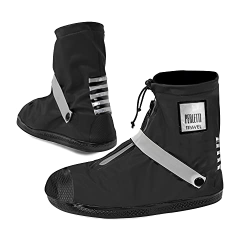 Cubrezapatos Impermeables Negros Bajos - Cubrezapatillas Reflectantes Antideslizantes - Galochas Lluvia con Cordón - Protectores Zapatos Resistentes Reutilizables - Perletti (Reflectante, L (43/45))