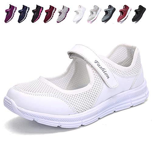 [JIAFO] 安全靴レディース スニーカー 介護シューズ 高齢者シューズ マジックテープ 通気性 柔軟性 軽量 メッシュ 中高齢者靴 ママシューズ 疲れにくい 滑り止めお母さん 婦人靴 看護師(22.5cm~26.0cm) (23.0cm, ホワイトB)
