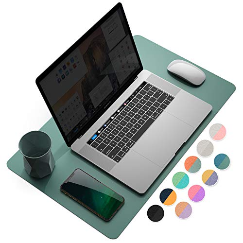 YSAGi Multifunctional Office Desk Pad, Ultra Thin Waterproof PU Leather Mouse Pad, Dual Use Desk Writing Mat for Office/Home (23.6' x 13.7', Pistachio Green + Green Blue)