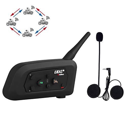 runhua V4 Casco Interfono Moto, 4 Piloti Full Duplex Talk Nello Stesso Momento, 1200M Casco Interfono Bluetooth Moto, Moto Auricolare Bluetooth Supporto FM