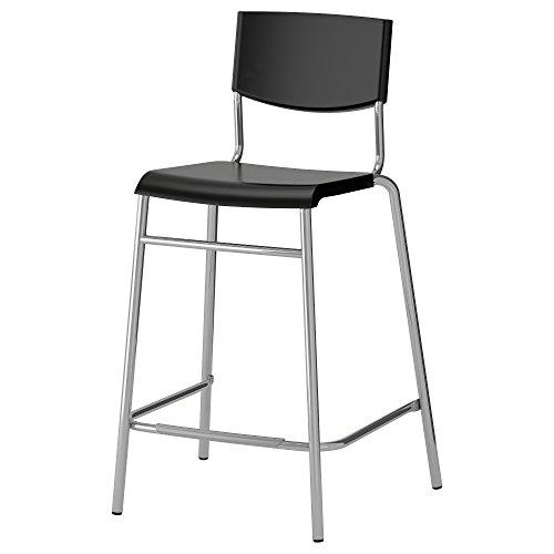 IKEA(イケア) STIG 63 cm 10161525 バースツール 背もたれ付き、ブラック、シルバーカラー