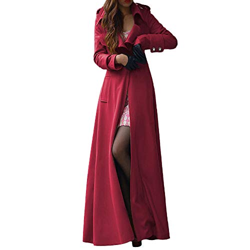 KEERADS Femmes Hiver Extra Long Outwear Revers Slim Manteau Trench Imitation Veste en Laine Parka Manteau De Mode Élégant Chic Unique Robe Dress(S,Vin Rouge)