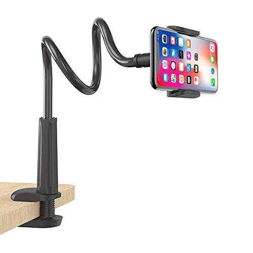 JINHU Soporte De Brazo Largo con Clip De Cuello De Cisne 360 ° Universal Flexible Soporte para Teléfono Móvil Adecuado para Teléfono Inteligente Mesa Silla Cama Mostrador De Cocina, Etc, Black