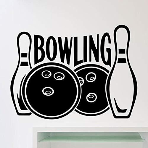 Bowling Logo Wandtattoos Kegel Freizeit Sportclub Innendekoration Türen und Fenster Fenster Vinyl Aufkleber abnehmbare Kunst Tapete 57x76 cm