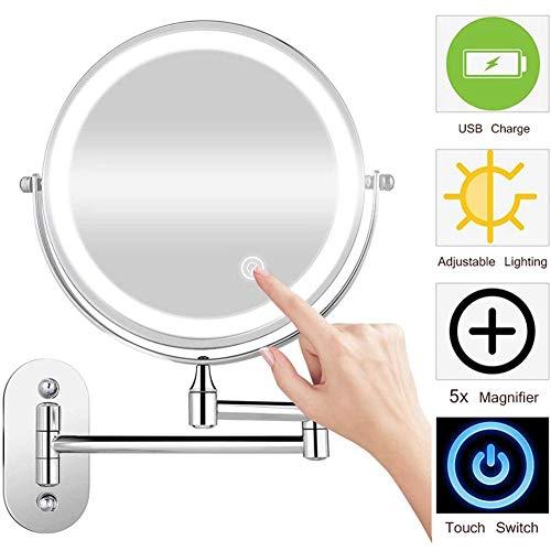 MRJ Recargable Espejo de Aumento de Pared 8 Pulgadas, Espejo tocador, con luz LED, 5X Aumento, Doble Cara giratoria de 360 °