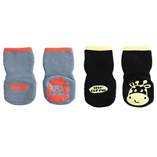 Calcetines antideslizantes para niños pequeños y niñas 2 pares de calcetines deportivos monocromáticos viscosa bebés tobillos 1 a 5 años (Gris + negro,1-3 años)