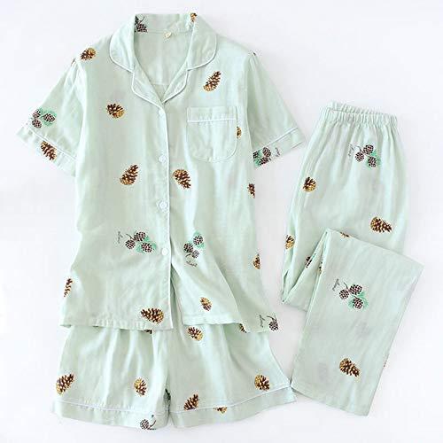 XUHRA Vrouwen pyjama, 3 stuks pakken verse korte mouwen dames zomer 100% gaas katoen nachtkleding vrouwen pyjama's shorts Home Pants
