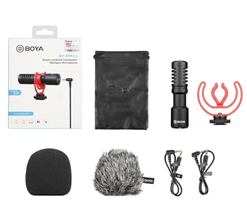 Boya BY-MM1+ Super-Cardioid Shotgun Microphone with Real Time Monitoring Compatible with iPhone/Andoid Smartphones, DSLR Cameras Camcorders for Live Streaming Audio Recording