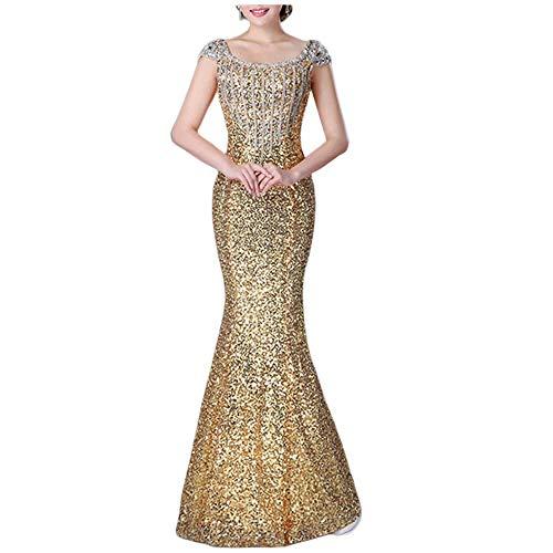 ZLDDE Damen Lange Pailletten Flügelärmel Partykleid Cocktailkleid Abendkleid Gold
