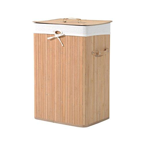 HOMCOM Wäschekorb Wäschebox Wäschesammler mit Deckel Segeltuchsack faltbar Segeltuch Bambus Natur 72L 40 x 30 x 60 cm