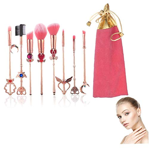 8piece Make-up Pinsel Set Magie Sailor Moon Make-up Pinsel Sakura Kosmetik Make-up-tool-kit Pulver Flüssige Sahne Applicator Rosa Tragetasche Inklusive (pink & Gold)