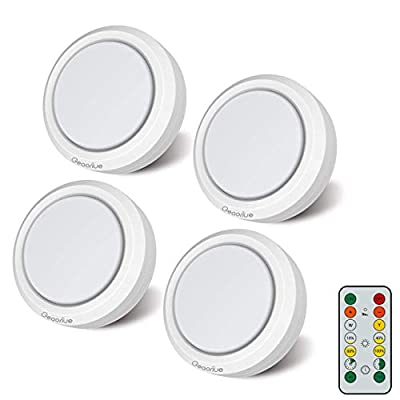 Geaoriue Puck Lights with Remote Control, Stick on Lights with Timer & Dimmer ,Wireless led Under Cabinet Lighting, Closet Lights Battery Powered, Under Counter Lights for Kitchen,4 LED Puck Lights