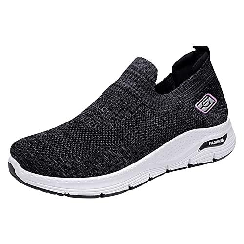 Zapatillas Mujer Running Sneakers Cordones Zapatos de Deportivas Transpirables Zapatillas De Deporte Ligeras(M01_Black,37)