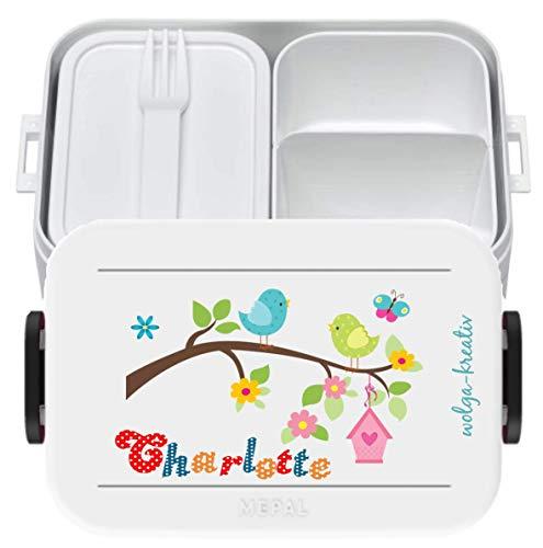 wolga-kreativ Brotdose Lunchbox Bento Box Kinder Vogel Vogelfamilie mit Namen Mepal Obsteinsatz für Mädchen Jungen personalisiert Brotbüchse Brotdosen Kindergarten Schule Schultüte füllen