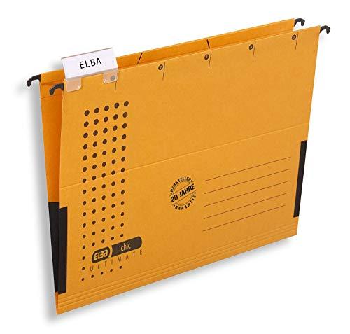 ELBA Hängetasche chic für A4, aus Karton, mit Leinenfröschen, gelb, 5er Pack