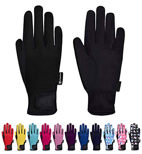 ChinFun Kids Horse Riding Gloves Child Winter Gloves Cycling Gloves Windproof Warm Gloves Perfect for Cycling Riding Running Skiing and Winter Outdoor Activities Black Size M 8-10