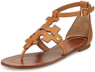 Tory Burch Phoebe Flat Thong Tan Elba Tumbled Leather Size 8