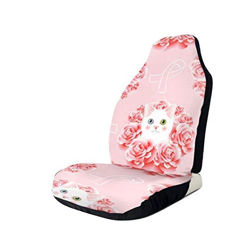 Kitty Pink Awareness Ribbon Autositzbezug