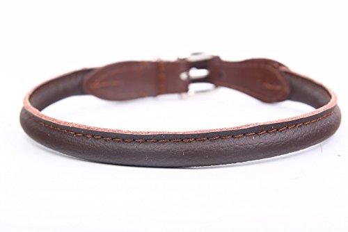 HOGACA edeles weiches Hunde-Leder-Halsband 771 ø8mm / 40cm Handarbeit Made IN EU braun Lochbereich 32,5-36,5 cm passende Lederleine Finden