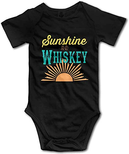 Caswyy Sunshine and Whiskey Romper Baby Boys Girls Bodysuit Super Soft Jumpsuit Onesies for Baby Black