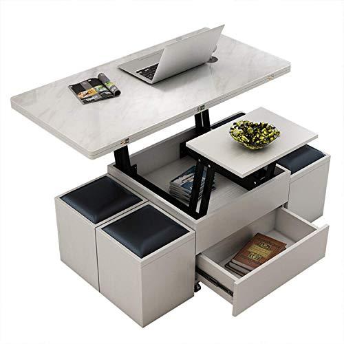 Moderno Minimalista Creativo Cuadrado Levantar Mesa de Centro de Mesa de Comedor de Doble Uso, elevación + encimera de Vidrio Templado + Esquina Redondeada