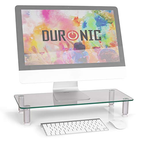 Duronic DM052-1 Elevador para Pantalla, Ordenador Portátil, Televisor - 56 x 24 cm- Cristal Transparente, Soporta hasta 20 kg