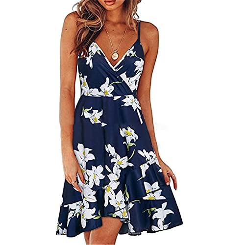 Winkey Frauen Sommerkleider Midi LäNge Elegante Party Kleider Damen Sommerkleid,äRmellose Beach Kleid