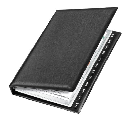 VELOFLEX 4155590 Visitenkartenringbuch Visitenkartenbuch 4-Ring-Mechanik 16 mm 145x225mm schwarz