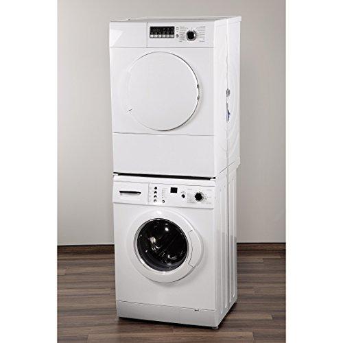 Xavax Zwischenbaurahmen (offene Front) für Waschmaschine und Trockner, 55 - 68 cm + 1 Sicherungszurrgurt Neu auch geeignet für: - Waschmaschinen mit schräger bzw. gewölbter Waschmaschinenfront - Waschmaschinen mit einer Waschmittel-Schublade, die bis zum Deckel reicht - Trockner, die eine Reinigungsklappe am unteren Teil der Vorderfront haben