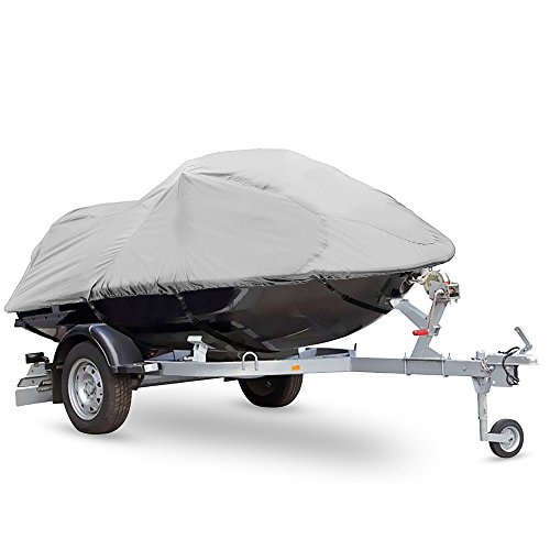 """Pyle Heavy Duty Boat Cover - 127"""" to 138"""" Universal Marine Grade Storage Cover w/ Rear Air Vents, Waterproof Fabric & Elastic Cord - Protection Against Rain - PCVJS13"""