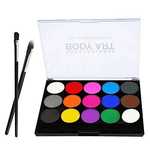 Kinderschminke, Professionelle Body Kinderschminke Set, 15 Farben Schminkpalette Kinder Gesichtsfarbe Körperfarben Set für Kinder Partys & Fasching Face Painting
