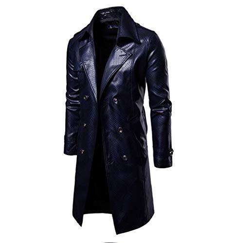 FAEIO Invierno-Chaqueta Abrigo Hecho de PU Cruzado Cortavientos Abrigo - para Hombre Deportes al Aire Libre, Caza, Ejército XL-Navy Blue