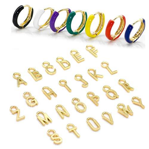 holilest Pendiente, 1 Set Golden 26 Letras Inicial Alfabeto Charm Esmalte Semi Aro Pendientes Mujer