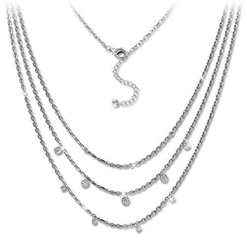 SilberDream Zirkonia 3er Layer Halskette Glitzerschmuck 47cm 925 Silber GSK414W Silber Halskette