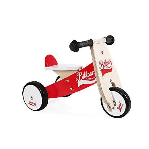 """Janod J03261 Holz-Laufrad """"Little Bikloon"""", 3 Räder, Gleichgewicht und Eigenständigkeit lernen, für Kinder ab 1 Jahr, rot und weiß"""