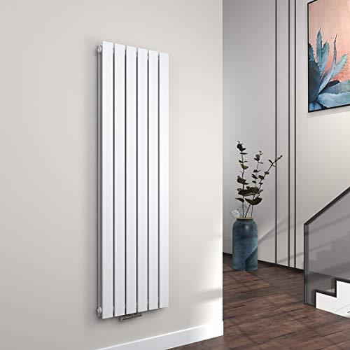 EMKE Vertikal Heizkörper Design Paneelheizkörper 1600x460mm Weiß flach Doppellagig Mittelanschluss Heizung 1527W