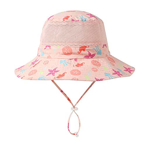 Home Prefer UPF50+ Wide Brim Mesh Kids Sun Hat Toddler Baby Sun Protection Hats (6-12 Months, Starfish)