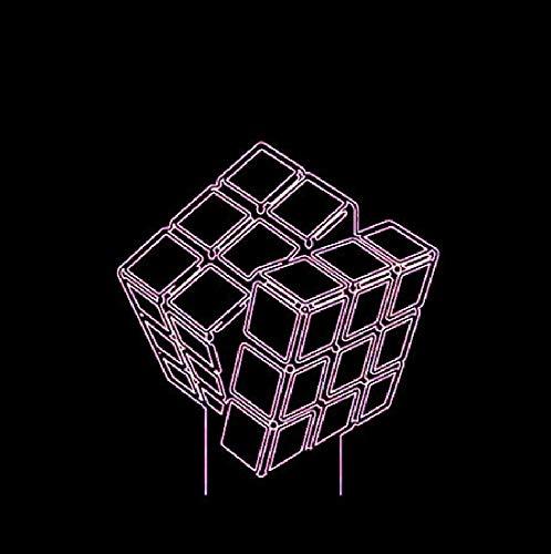 Led 3D Design Visual Rubik's Cube Modeling Night Lights 7 Colorido Usb Touch Button Lámpara de escritorio Creative Kids Toy Gift