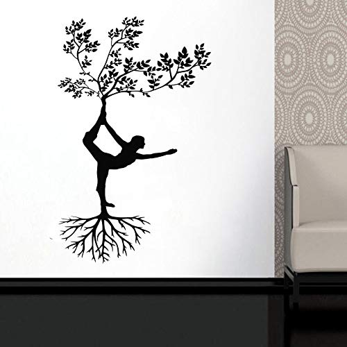 YuanMinglu Yoga Silueta Pose niña Mujer Ejercicio meditación Pared calcomanía Abstracto Mujer Pared Arte diseño Vinilo Pegatina 63x100 cm